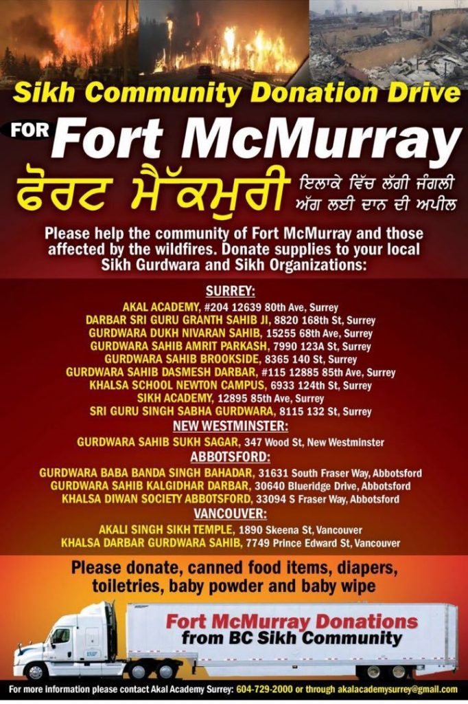 Sikh Community Donation drive for fort McMurray